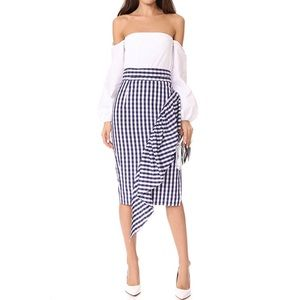 NWT Milly Navy Gingham Cascade Ruffle Skirt 8